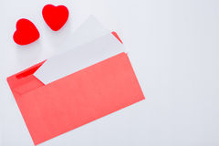 Decorative hearts near with opened envelope Royalty Free Stock Photography