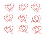 Decorative hearts set Stock Images
