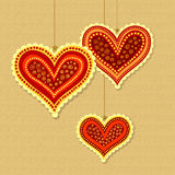 Decorative hearts on strings Royalty Free Stock Photography