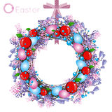 Decorative holiday wreath on a pink ribbon in purple red and blue colors Royalty Free Stock Photo