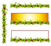 Decorative Holly Leave Borders and Banners Stock Images
