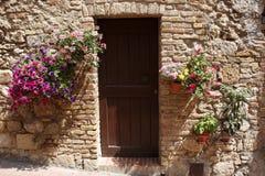 Decorative home doorway. San gimignano delle belle torri tuscany southern italy europe Stock Photo