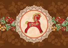 Decorative horse and doily frame 1. Vector colorful background. Wooden horse symbol of New Year Royalty Free Stock Images