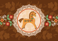 Decorative horse and doily frame 2. Vector colorful background. Wooden horse a symbol of New Year Stock Photos