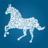 Decorative horse. Elegant decorative snowflakes horse, symbol of New Year 2014 Stock Illustration