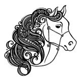 Decorative Horse with Patterned Mane stock illustration