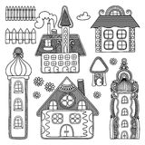 Decorative house drawing set Royalty Free Stock Photo