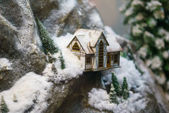 Decorative house in the mountains, the layout. A decorative house in the mountains, the layout Royalty Free Stock Images