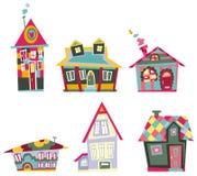 Decorative houses. Illustrated Set of decorative houses Royalty Free Stock Photo