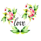 Decorative Hydrangea flowers with heart and title LOVE Stock Photo