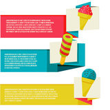 Decorative ice cream paper banners set Royalty Free Stock Image