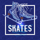 Decorative ice skates doodle stile icon. Old fashion ice skates with shimmering silver blades doodle style pictogram with blue background abstract vector Royalty Free Stock Photography