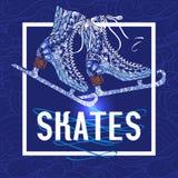 Decorative ice skates doodle stile icon Royalty Free Stock Photography