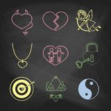 Decorative icons for Valentine's day. Royalty Free Stock Photography