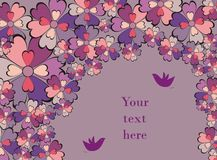 Decorative illustration. Decorative background illustration  with colorful flowers and birds Royalty Free Stock Image