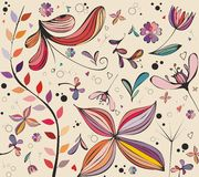 Decorative illustration. Decorative background illustration  with colorful flowers and birds Stock Photos