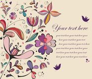 Decorative illustration. Decorative background illustration  with colorful flowers and birds Royalty Free Stock Photography