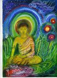 Decorative Illustration, of a Buddha seated. Stock Photo