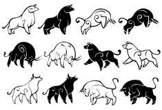 Decorative illustration of bulls in profile. royalty free illustration