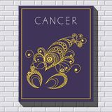 Decorative illustration with drawing on a brick wall 34. Decorative zodiac sign Cancer. Horoscope and astrology astronomy-symbol. Vector illustration Royalty Free Stock Photos