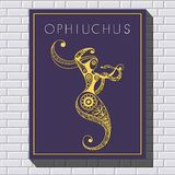 Decorative illustration with drawing on a brick wall 46. Decorative zodiac sign Ophiuchus. Horoscope and astrology astronomy-symbol. Vector illustration Royalty Free Stock Photos