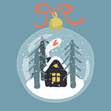 Decorative illustration of handdrawn snow globe Stock Photo