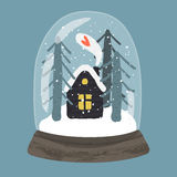Decorative illustration of handdrawn snow globe Royalty Free Stock Image