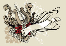 Decorative illustration of a harp with ribbon and floral ornamen Royalty Free Stock Photo