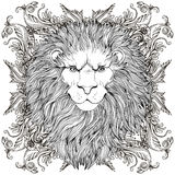 Decorative illustration of heraldic Lion Head with royal crown a Royalty Free Stock Image