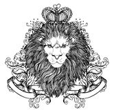Decorative illustration of heraldic Lion Head with royal crown a Stock Photos