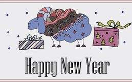 Decorative illustration with new year sheep 2015 Royalty Free Illustration