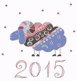 Decorative illustration with new year sheep 2015. Decorative illustration with new year sheep  2015 Vector Illustration