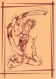 Decorative illustration with samurai Stock Photography