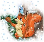 Cute cartoon red squirrel holding a nut in awinter forest royalty free illustration