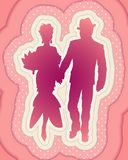 Beautiful  silhouette of elegant couple royalty free illustration
