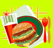Decorative image of a great burger Stock Photography