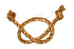 Hemp rope on a white background Stock Photo