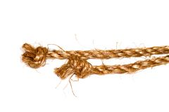 Hemp rope on a white background Royalty Free Stock Images