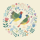 Decorative image of two birds and flowers, plants, leaves around. Decorative illustration on a beige background with a colorful picture of two finches, which Royalty Free Stock Images
