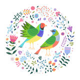 Decorative image of two birds and flowers, plants, leaves around. Decorative illustration on white background with picture of two colorful finches, around which Royalty Free Stock Images