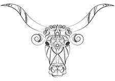 Decorative Indian bull head. Talisman, an animal tattoo. Bull with big horns. Printing on clothes, fabrics. Design element, emblem Royalty Free Stock Images