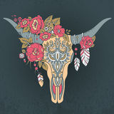 Decorative Indian bull skull with ethnic ornament. Feathers, flowers and leaves. Colorful hand drawn vector illustration with grunge background Royalty Free Stock Images
