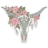 Decorative Indian bull skull with ethnic ornament, flowers and l Stock Photos