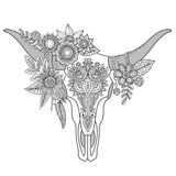 Decorative Indian bull skull with ethnic ornament, flowers and l Stock Photography