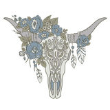 Decorative Indian bull skull with ethnic ornament, flowers and l Royalty Free Stock Photography