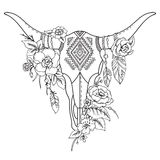 Decorative Indian bull skull with ethnic ornament, flowers and le Royalty Free Stock Image