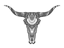 Decorative Indian bull skull. Hand drawn vector illustration Royalty Free Stock Photography