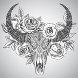 Decorative indian bull skull in tattoo tribal style with flowers Stock Photos