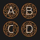 Decorative Initial Letters A, B, C, D Stock Photos