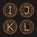 Decorative Initial Letters I, J, K,L. Stock Photos